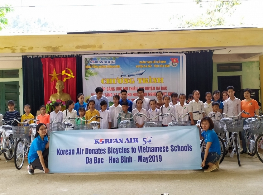 korean air donates bicycles to vietnamese schools korean air the larges