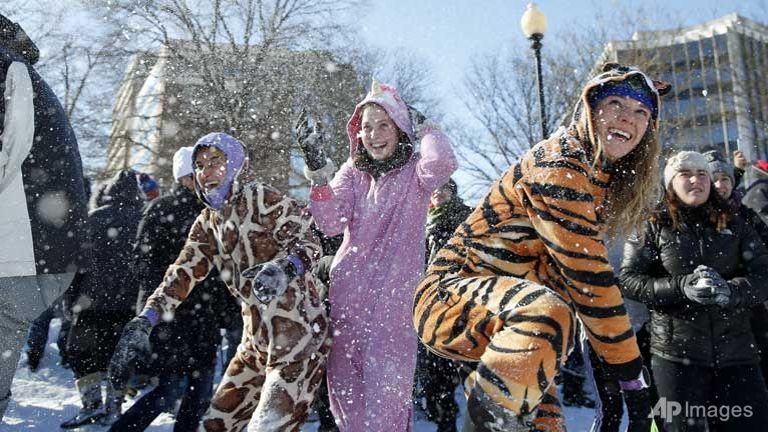 New York residents delight in winter wonderland