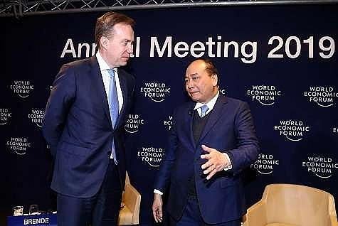 pm questioned about economic outlook growth momentum by wef president