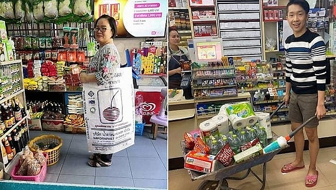 thai shoppers get creative after plastic bag ban