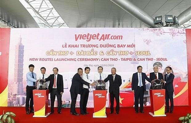 vietjet air launches new routes linking can tho with taiwan rok