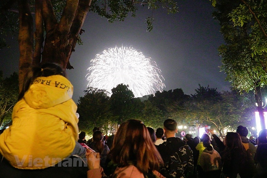 fireworks light up sky on new year eve
