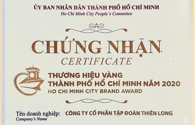 thien long group wins ho chi minh city brand award 2020