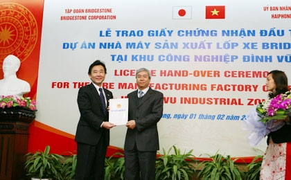Bridgestone sets its 50th manufacturing base in Dinh Vu IZ