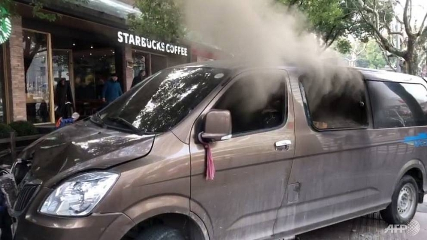 18 hurt as burning van slams into shanghai pedestrians