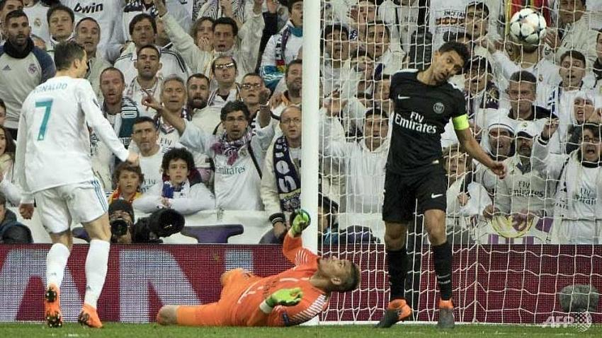 ronaldo scores twice as real madrid take control against psg