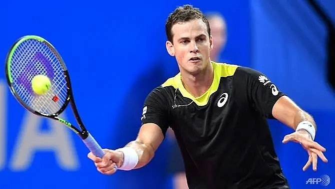 maple syrup drinking pospisil stuns top seed medvedev