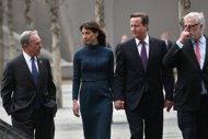British PM visits Ground Zero, students in New York