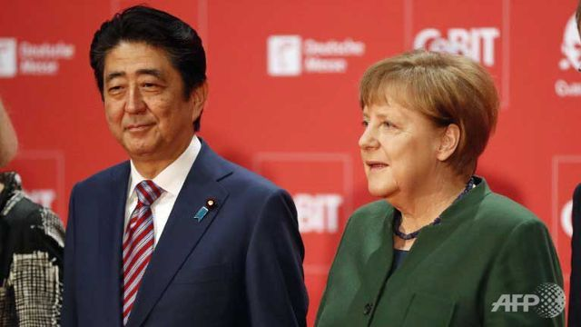 Abe, Merkel call for open markets World news