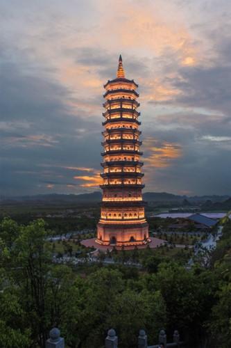 the quiet night glow of bai dinh pagoda photo