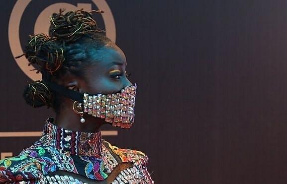 nigerian celebrities wear blinged up masks