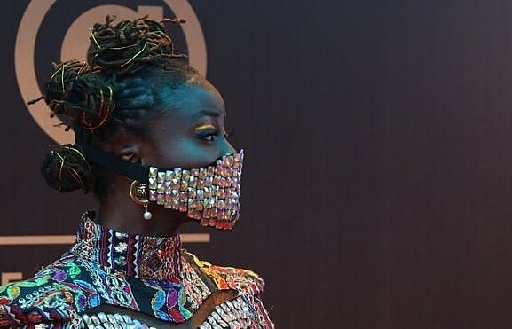 nigerian celebrities wear blinged up masks