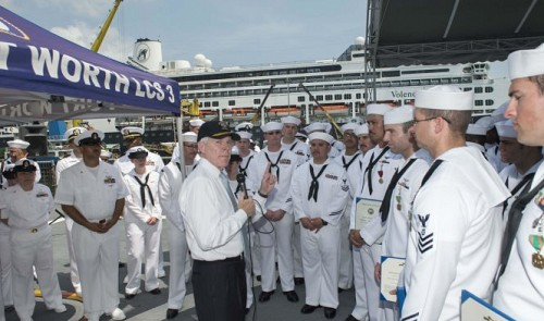 Navy Secretary Mabus visits sailors during Vietnam-US naval engagement activities