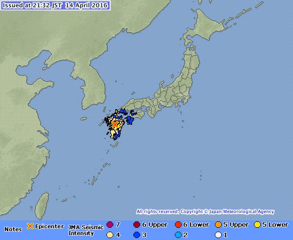 Strong Quake In Southwestern Japan Kills Nine Topples Homes - Japan map quake