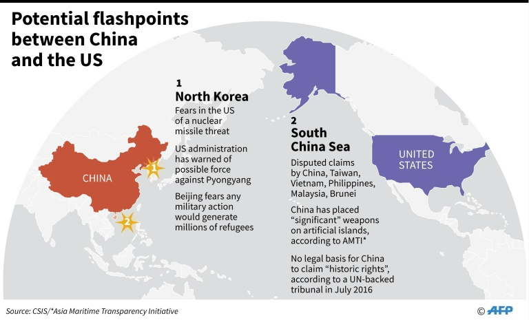 Trump xi at mar a lago for high stakes summit world news map showing north korea and the south china sea potential flashpoints between the united states and china afpjohn saeki gumiabroncs Image collections