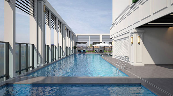 Luxury apartment meets the needs of customers through a plethora of high end amenities including a rooftop pool all day dining restaurant and a modern