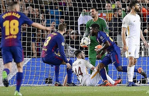 two own goals help barca take charge of quarter final against roma