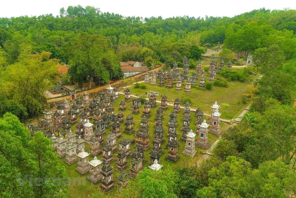 stunning view of bo da ancient pagoda in bac giang