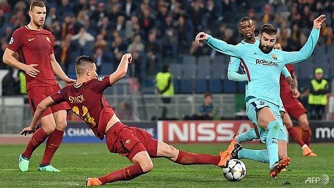 roma shock barcelona to reach champions league semi finals