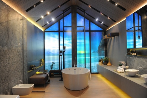 thai bathroom. Bathroom design of SCG  a blend Thai traditional and modern features VNS Photo Architect expo promotes architectural innovations technology