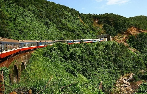 scenic winding railway across hai van pass