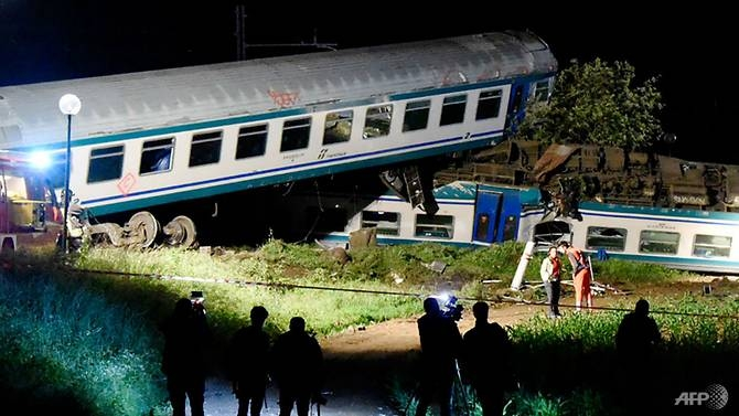 two dead more injured after train hits truck in italy