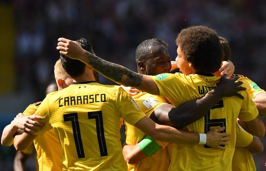 world cup two each for hazard and lukaku as belgium thump tunisia 5 2