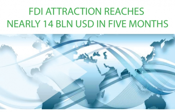fdi attraction reaches nearly 14 bln usd in five months infographics