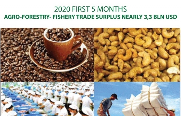 five month agro forestry fishery trade surplus nearly 33bn usd infographics
