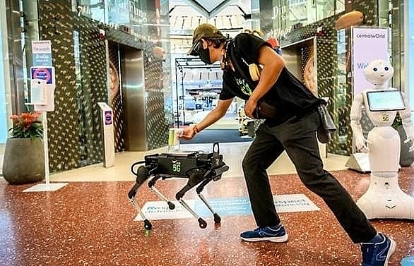 robot dog hounds thai shoppers to keep hands coronavirus free