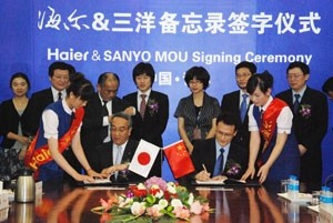 haier signs mou to acquire some sanyo operations