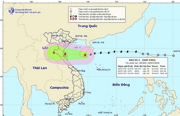Typhoon Son Tinh to make landfall Wednesday night