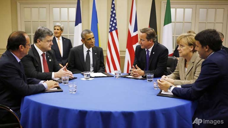 NATO leaders accuse Russia, aid Ukraine