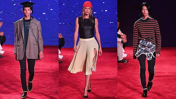 calvin klein goes for jaws coach does disney at new york fashion week
