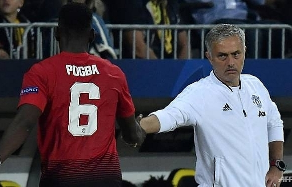 mourinho and pogba filmed in tense man united training ground exchange