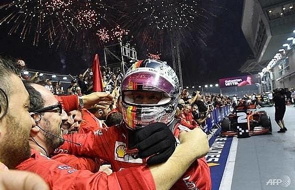 ferraris vettel ends long wait for victory with singapore grand prix triumph
