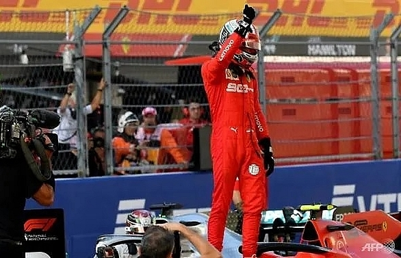 ferraris leclerc on pole in russia his fourth in a row