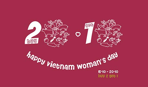 buy 2 get 1 free at orfarm on vietnam womans day