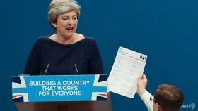 Mishaps disrupt UK PM as she tries to rally party