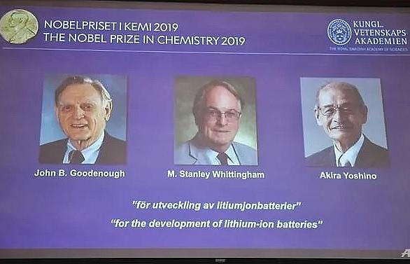 us uk japan trio win chemistry nobel for lithium ion battery