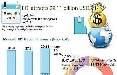 vietnams fdi inflow up in 10 months