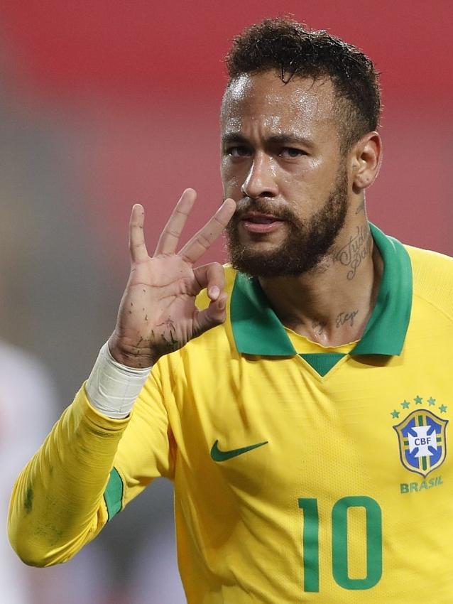 neymar hat trick fires brazil past peru argentina labor