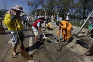 as thai floods recede more communities clean up