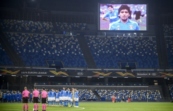 napoli pays tribute to maradona captain of the angels