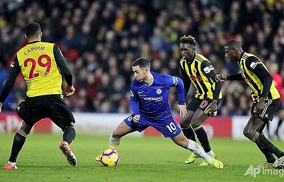 hazard hits chelsea hundred in win at watford
