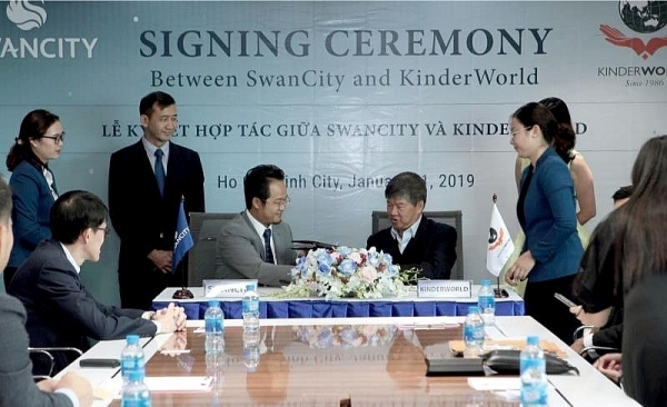 swancity co operates with kinderworld for singapore standard education