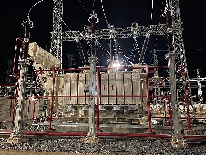 ninh phuoc 220kv transformer substation officially connects power lines