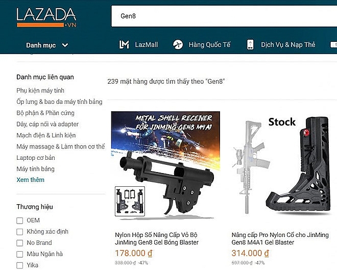 lazada to be inspected for selling guns and components