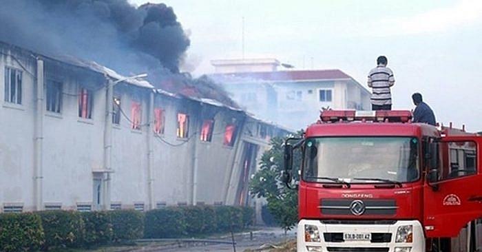 huge fire in long giang industrial park