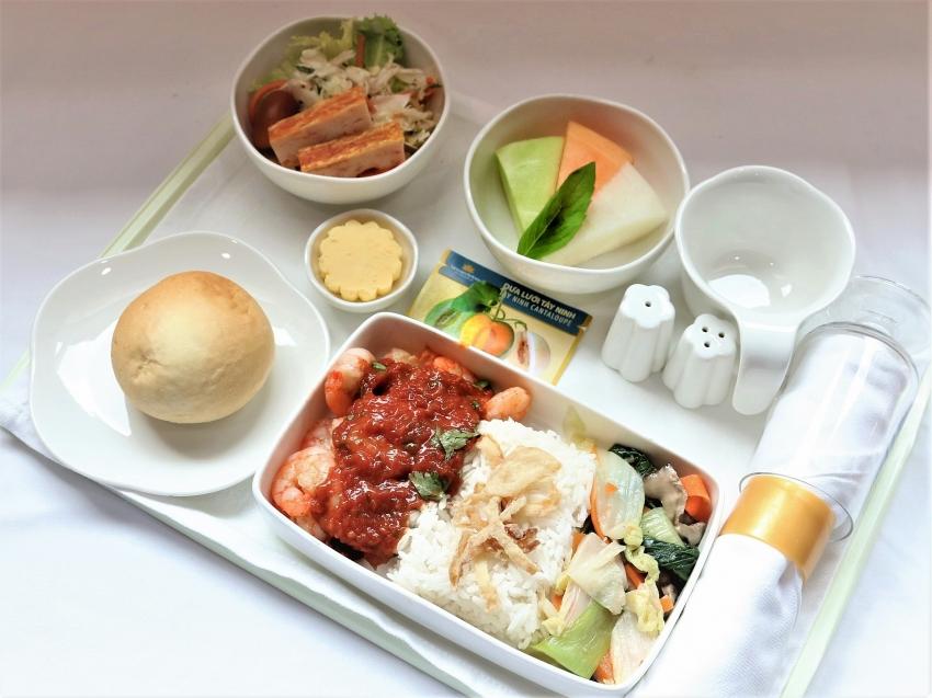 specialty winter melon and dragon fruit on vna in flight menu